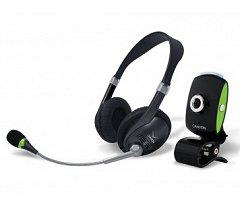 Egy egyszerű USB-s kamera hozzá adott mikrofonos fejhallgatóval